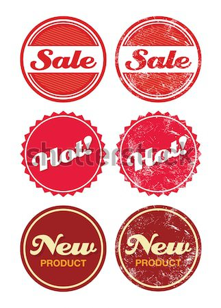New product red retro badge - grunge style Stock photo © RedKoala