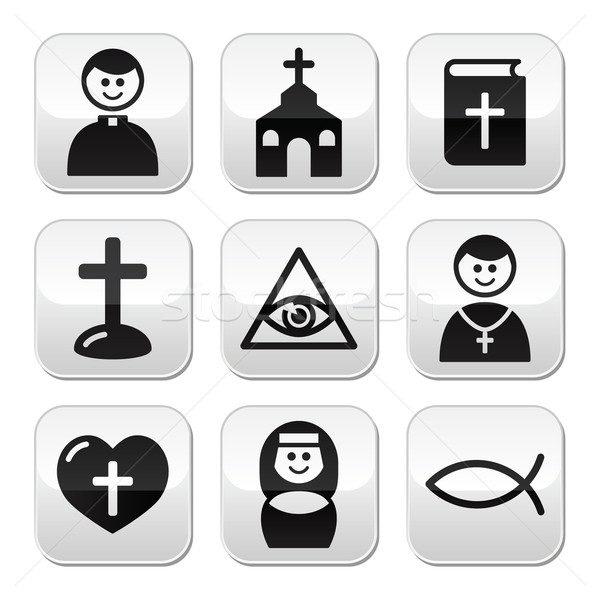 Religion, catholic church vector buttons set Stock photo © RedKoala