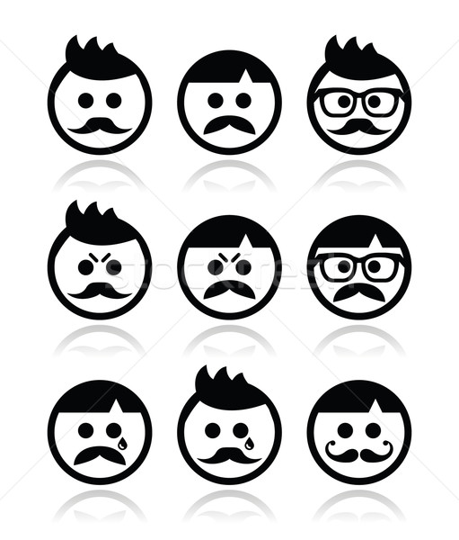 Man with moustache or mustache, avatar vector icons set Stock photo © RedKoala