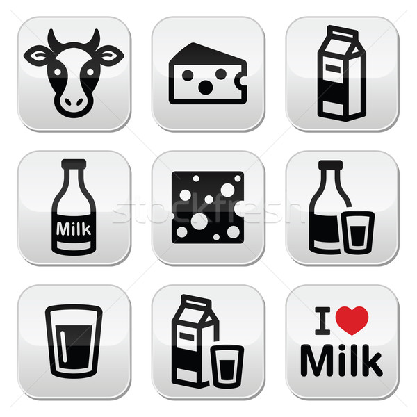 Dairy products - milk, cheese vector buttons set Stock photo © RedKoala