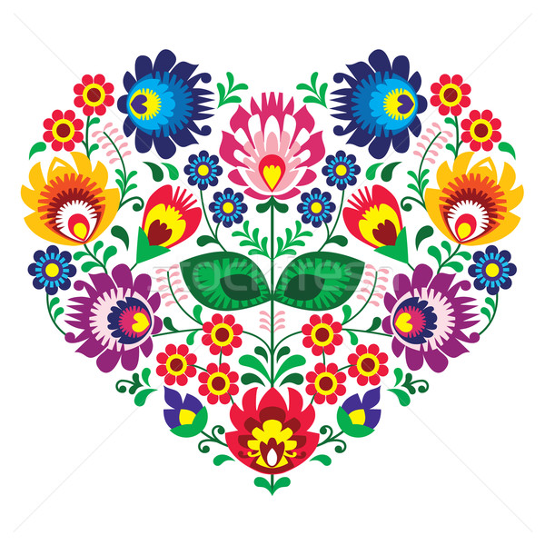 Polish olk art art heart embroidery with flowers - wzory lowickie Stock photo © RedKoala