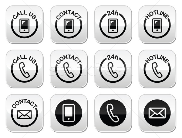 Stok fotoğraf: Temas · hattı · yardım · düğmeler · ayarlamak · web
