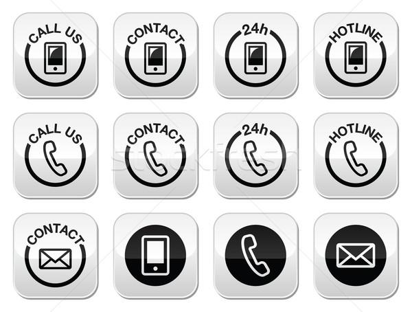 Contact, hotline, 24h help buttons set  Stock photo © RedKoala