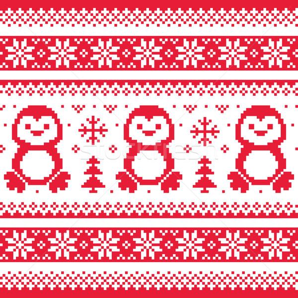 Christmas, winter knitted pattern with penguins - Scandinavian sweater style  Stock photo © RedKoala