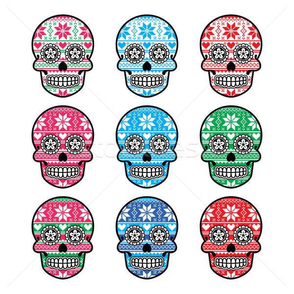 Mexican sugar skull with winter Nordic pattern  Stock photo © RedKoala
