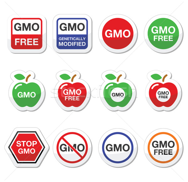 GMO food, no GMO or GMO free icons set Stock photo © RedKoala