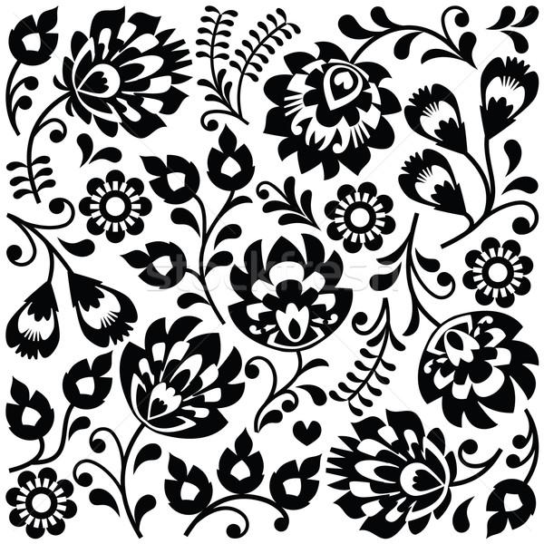 Polish folk art black pattern - Wzory Lowickie, Wycinanki  Stock photo © RedKoala