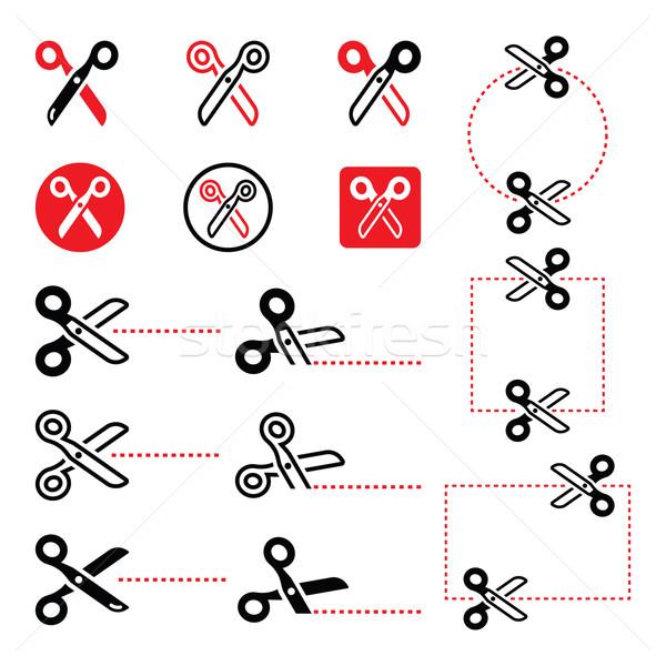 Stock fotó: Olló · vág · vonalak · ikon · szett · vektor · szerszámok