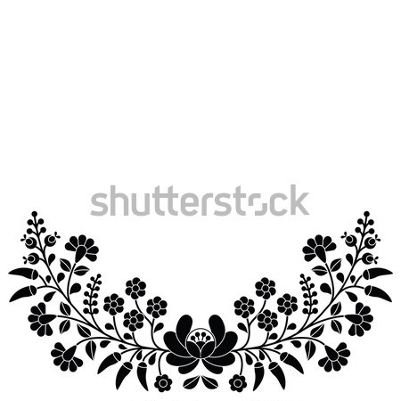Hungarian black floral folk pattern - Kalocsai embroidery with flowers and paprika Stock photo © RedKoala