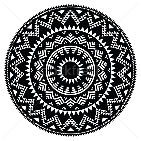 Tribal folk Aztec geometric pattern in circle  Stock photo © RedKoala