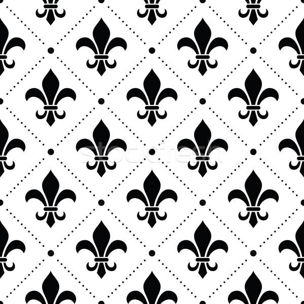 フランス語 ダマスク織 黒 パターン 白 ベクトル ストックフォト © RedKoala
