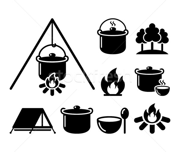 Cooking over a fire, campfire cooking, hike icons set Stock photo © RedKoala