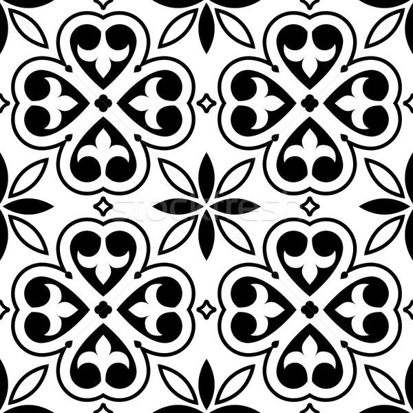 Spanish tiles pattern, Moroccan orPortuguese tile seamless design in black and white Stock photo © RedKoala