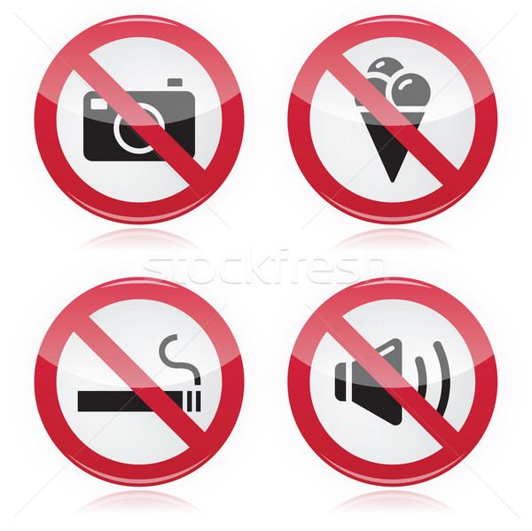 Forbidden sign: no cameras, no food, no smoking, no noise Stock photo © RedKoala