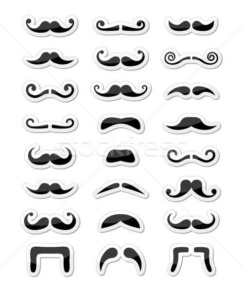 Moustache / mustache icons isolated set as labels Stock photo © RedKoala