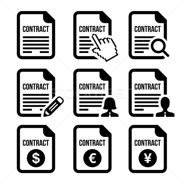 Business or work contract signing vector icons set Stock photo © RedKoala