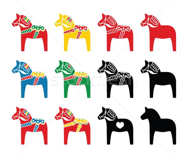 Swedish dala horse vector icons set Stock photo © RedKoala