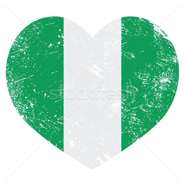 Nigéria retro coração bandeira vintage Foto stock © RedKoala