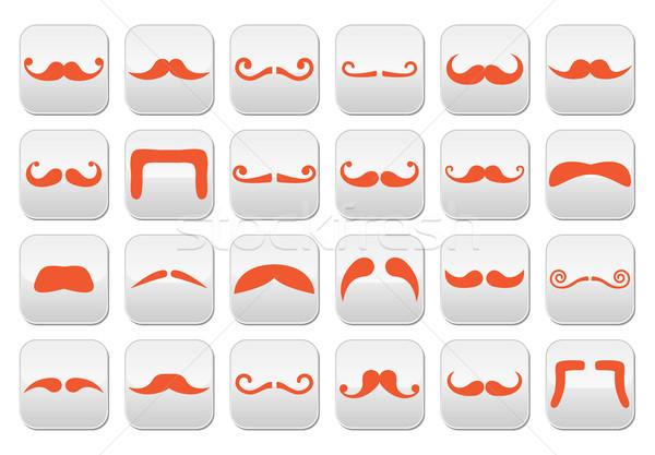 Ginger moustache or mustache vector buttons set Stock photo © RedKoala