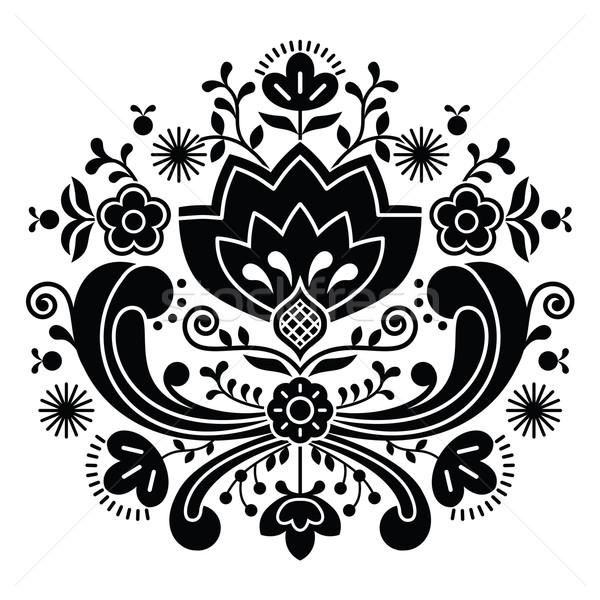Norwegian folk art Bunad black pattern - Rosemaling style embroidery       Stock photo © RedKoala