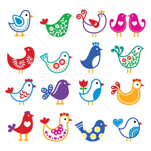 Folk art colorful birds vector icons set   Stock photo © RedKoala