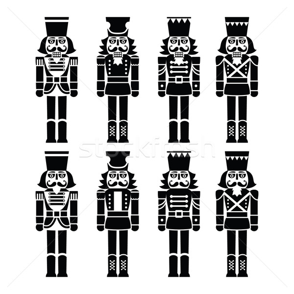Christmas nutcracker - soldier figurine black icons set Stock photo © RedKoala