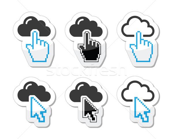 Nube cursor mano flecha símbolo Foto stock © RedKoala