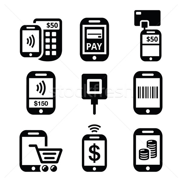 Móviles teléfono celular línea iconos Foto stock © RedKoala