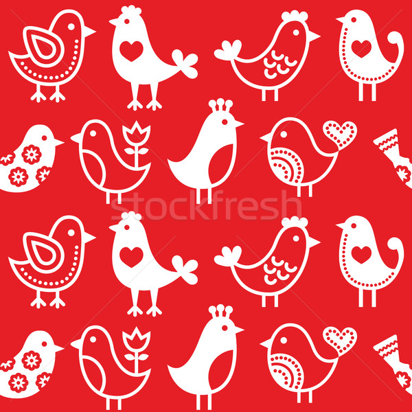 Folk, retro red background with birds - seamless pattern  Stock photo © RedKoala