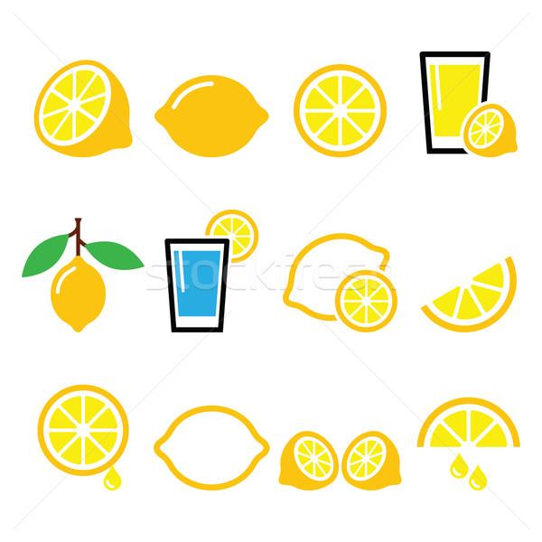 Lemon, lime - food icons set Stock photo © RedKoala