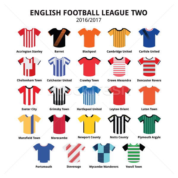 English Football League Two jerseys 2016 - 2017 vector icons set Stock photo © RedKoala