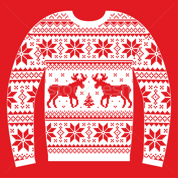 Ugly Christmas jumper or sweater with reindeer and snowflakes red and white pattern Stock photo © RedKoala