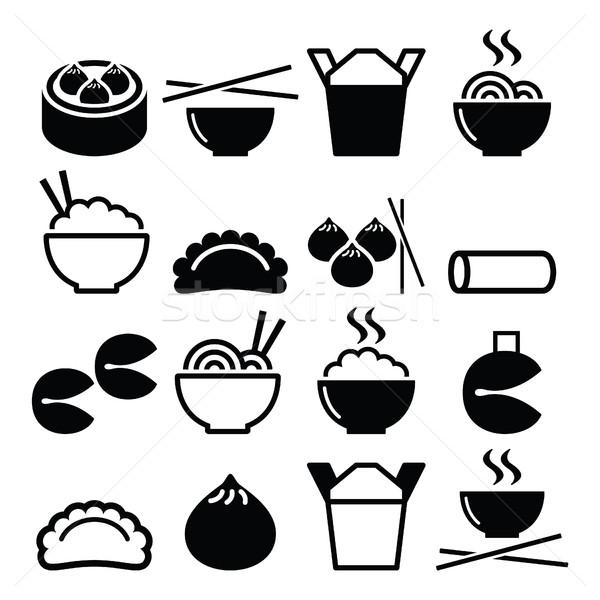 Chinese take away food - pasta, rice, spring rolls, fortune cookies, dumplings  Stock photo © RedKoala