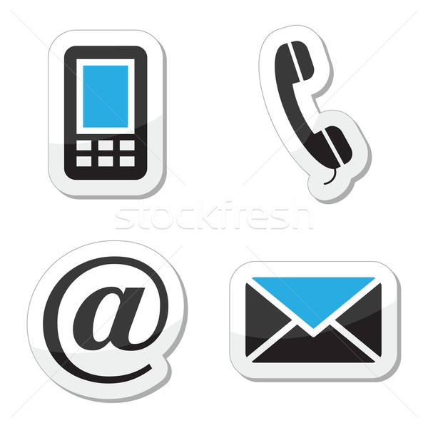 Stock photo: Contact web and internet icons set
