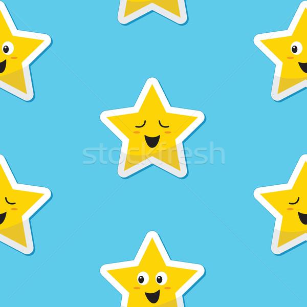 Seamless happy stars background for kids Stock photo © RedKoala