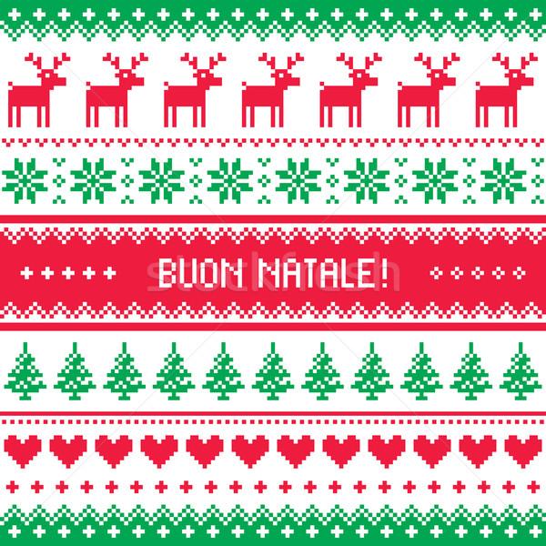 Stockfoto: Kaart · kerst · patroon · winter · Rood · groene · vieren