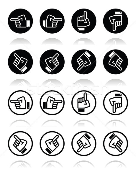 Pointing hand - up, down, across round icon vector Stock photo © RedKoala
