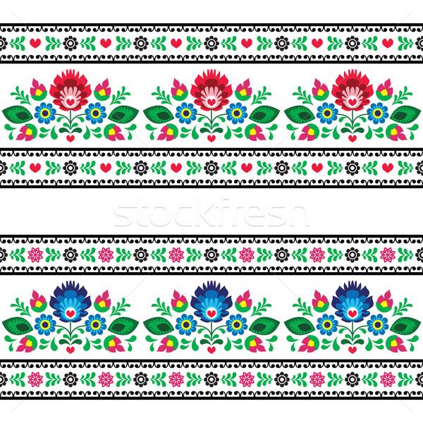 Seamless Polish folk pattern with flowers Stock photo © RedKoala