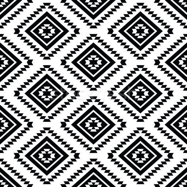 Tribal seamless pattern, aztec black and white background Stock photo © RedKoala