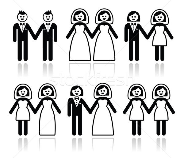 Gay and lesbian wedding - groom and bride icons set Stock photo © RedKoala