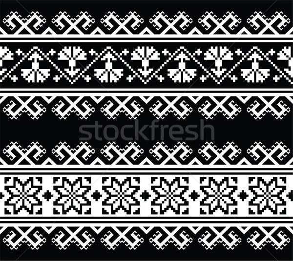 Ukrainian, Slavic seamless folk embroidery pattern on black  Stock photo © RedKoala