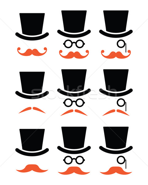 Stock photo: Ginger mustache or moustache with hat and glasses icons set