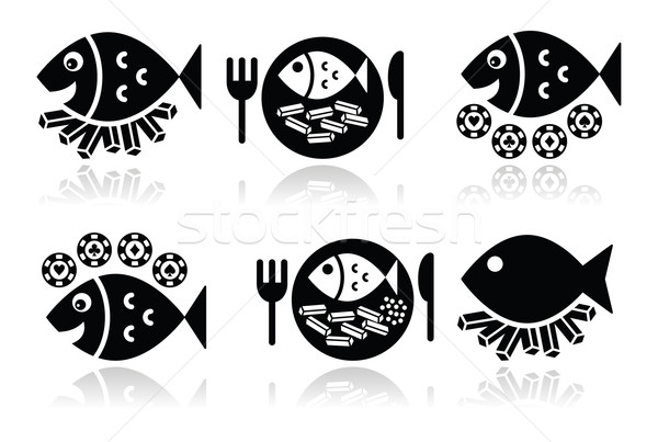 Fish and chips vector icons set  Stock photo © RedKoala