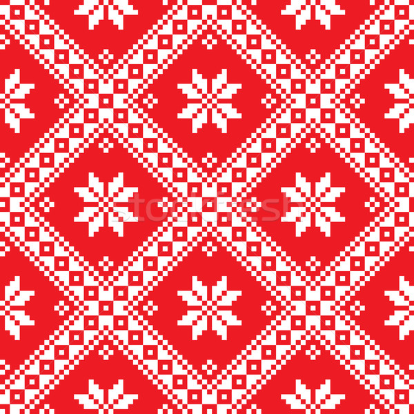 Seamless Ukrainian Slavic folk art red embroidery pattern  Stock photo © RedKoala