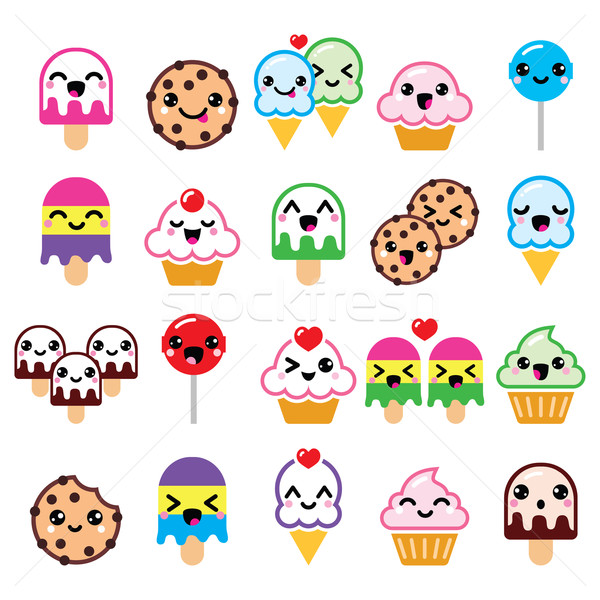 Cute kawaii alimentaire icecream Photo stock © RedKoala