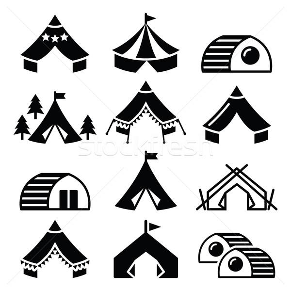 Glamping, luxurious camping tents and bambu houses icons set  Stock photo © RedKoala