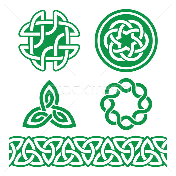 Celtic Irish green patterns and knots - vector, St Patrick's Day   Stock photo © RedKoala