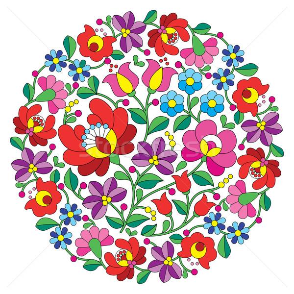 Kalocsai folk art embroidery - Hungarian round floral folk pattern Stock photo © RedKoala