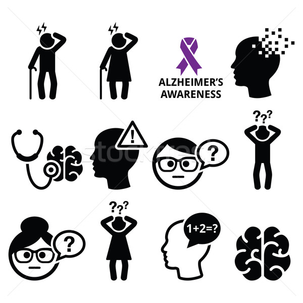 Seniors health - Alzheimer's disease and dementia, memory loss icons set Stock photo © RedKoala
