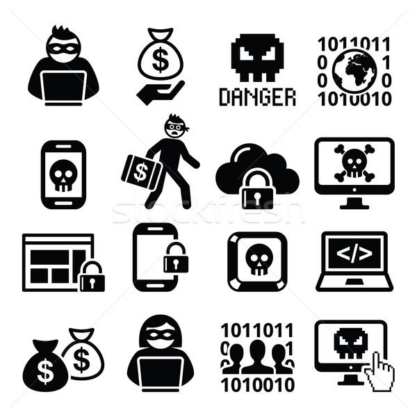 Atacar crime computador telefone móvel Foto stock © RedKoala
